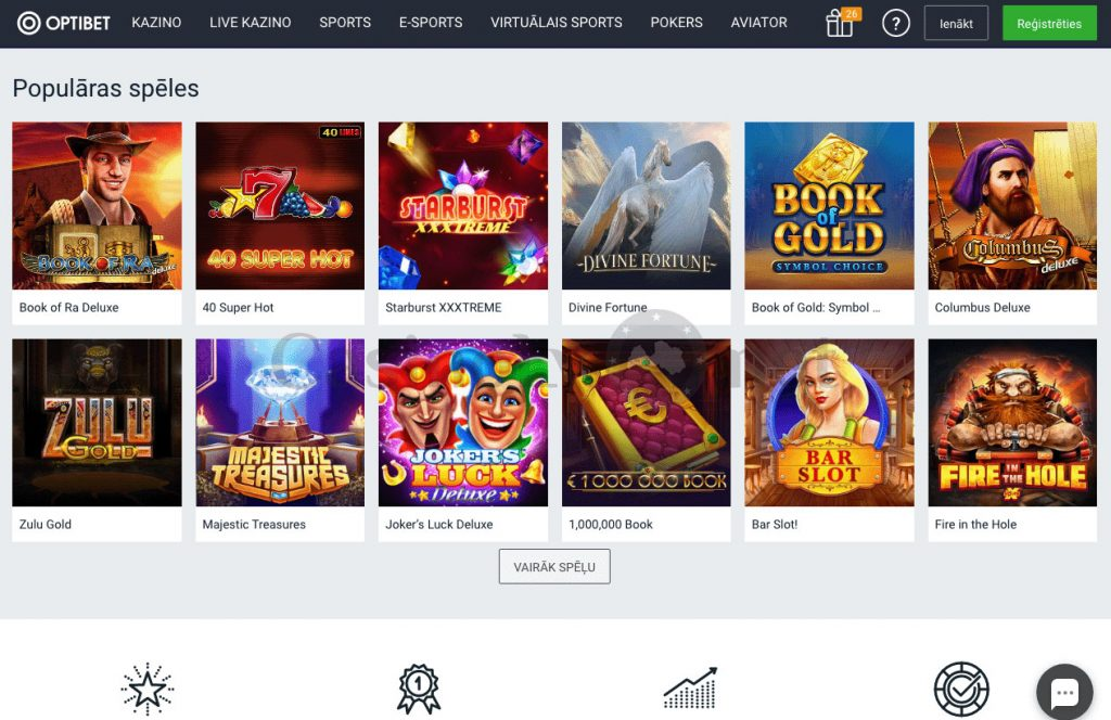 Oficiālā vietne Optibet Casino